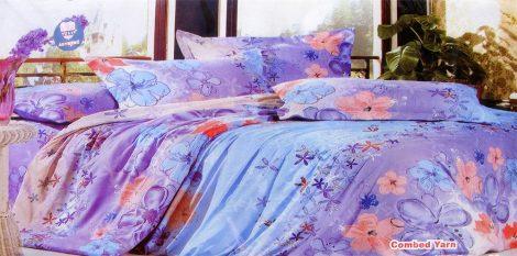 3 részes ágyneműhuzat garnitúra, lila barack virágos