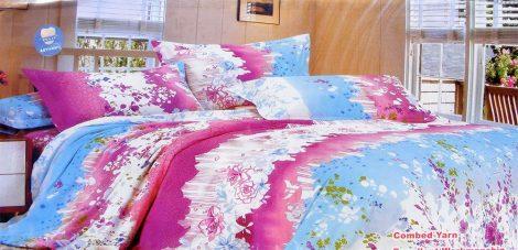 3 részes ágyneműhuzat garnitúra, kék rózsaszín virágos