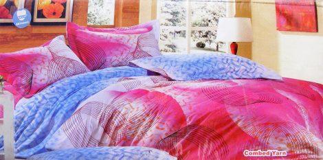 3 részes ágyneműhuzat garnitúra, kék rózsaszín karikás