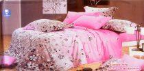 6 részes Dupla paplanos ágyneműhuzat, pink szürke virágos