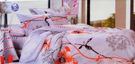 6 részes Dupla paplanos ágyneműhuzat, szürke piros virágos