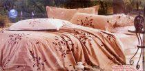 6 részes Dupla paplanos ágyneműhuzat, barna csíkos, virágos