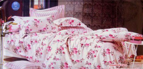 6 részes Dupla paplanos ágyneműhuzat, rózsaszín virágos