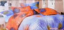 Krepp ágyneműhuzat, 6 részes krepp ágynemű, kék és narancsárga pöttyös