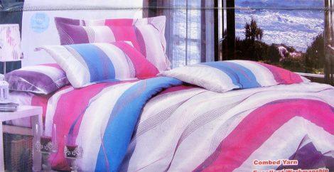 Krepp ágyneműhuzat, 6 részes krepp ágynemű, lila, kék és fehér csíkos