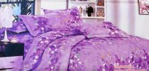 Krepp ágyneműhuzat, 6 részes krepp ágynemű, lila, virág