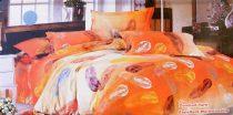 Krepp ágyneműhuzat, 6 részes krepp ágynemű, narancsárga toll