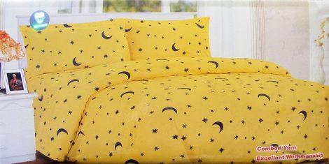 Krepp ágyneműhuzat, 6 részes krepp ágynemű, sárga hold csillagos