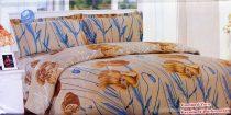 Krepp ágyneműhuzat, 6 részes krepp ágynemű, barna virágos