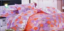 Krepp ágyneműhuzat, 6 részes krepp ágynemű, barack lila virágos