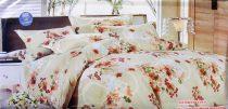 Krepp ágyneműhuzat, 6 részes krepp ágynemű, bézs apró virágos