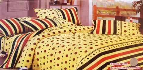 7 részes ágynemű garnitúra, sárga pöttyös csíkos