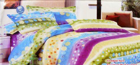 7 részes ágynemű garnitúra, színes csíkos
