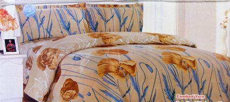 7 részes ágynemű garnitúra, barna virágos