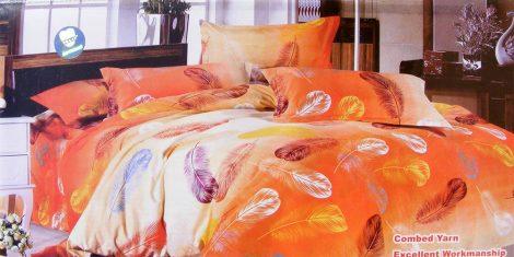 7 részes ágynemű garnitúra, narancssárga madártoll