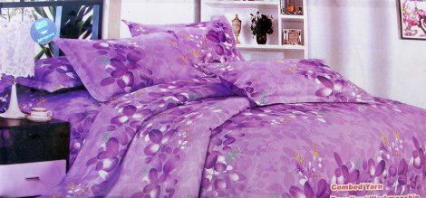 7 részes ágynemű garnitúra, lila virágos