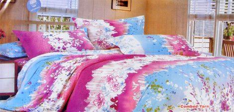 7 részes ágynemű garnitúra, pink és kék csíkos