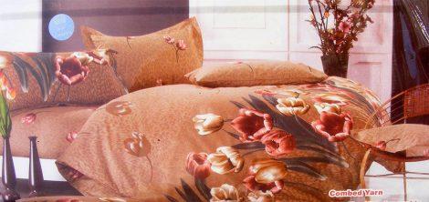 7 részes Krepp ágyneműhuzat garnitúra, krepp ágynemű, barna tulipán