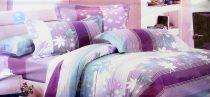 7 részes Krepp ágyneműhuzat garnitúra, krepp ágynemű, lila csíkos feleveles