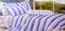 7 részes Krepp ágyneműhuzat garnitúra, krepp ágynemű, kék csíkos