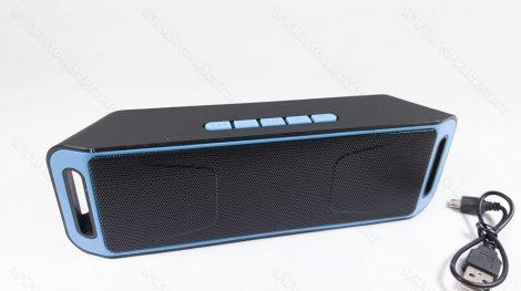 Bluetooth hangszóró, MP3 kihangosító, zenelejátszó, Speaker, autós, otthoni, fekete-kék