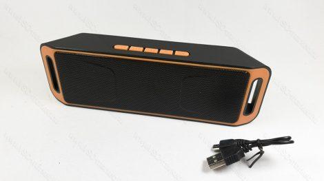Bluetooth hangszóró, MP3 kihangosító, zenelejátszó, Speaker, autós, otthoni, fekete-narancs